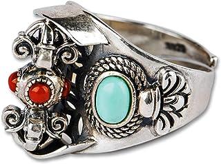 خاتم رجالي مصنوع يدويًا، قابل للتعديل في مقاس S925 مصنوع من الفضة الاسترلينية لا يصدأ ولا يسبب الحساسية، أفضل خيار للهدايا