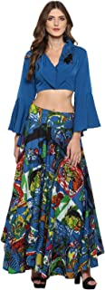Pannkh Women's Embroidered Crop Top With Picasso Printed Skirt