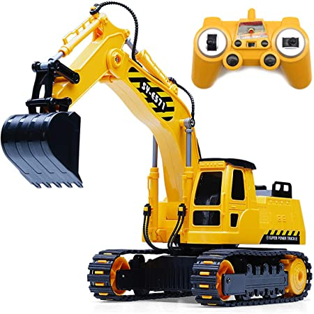 Amazon Com Fistone 8 Channel Rc Excavator 1 26 2 4ghz Remote Control Tractor Car Toy Construction Vehicles Sand Digger Kids Toy For Boys Age 3 4 6 8 Years Old And Adults Toys Games