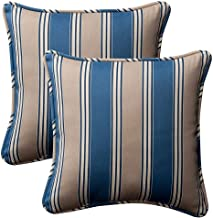 "Pillow Perfect Outdoor/Indoor Hamilton Cadet Throw Pillows, 16.5"" x 16.5"", Blue, 2 Pack"