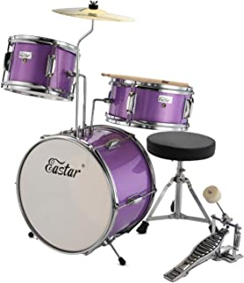 Eastar EDS-180Pu 14 inch 3-Piece Kids/Junior Drum Set with Throne, Cymbal, Pedal & Drumsticks,Metallic Purple …