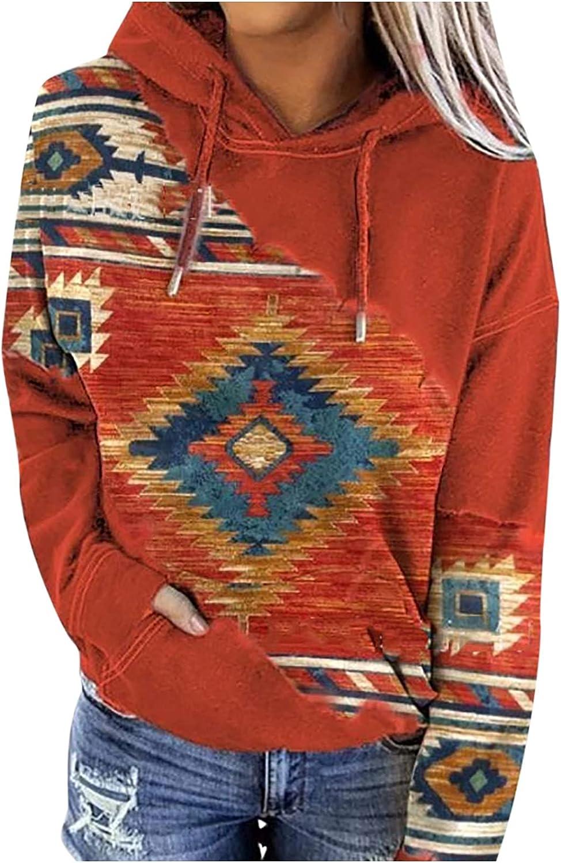 Women's Casual Hoodies Folk Sweatshirts Long Sleeve Pocket Drawstring Hooded Pullover