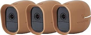 Silikon Skins mit Sonnendach für Smart Home Security Arlo Pro & Arlo Pro 2 WiFi Kamerasystem - von Wasserstein 3 x braun