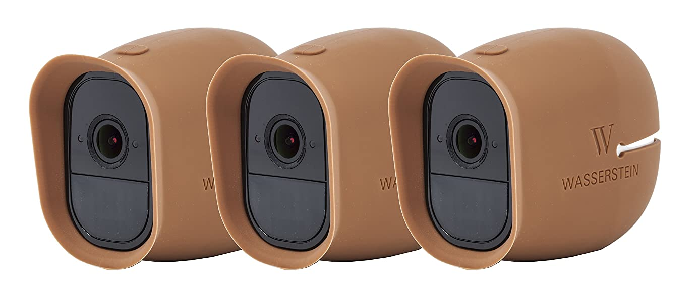 3 x Silicone Skins Compatible with Arlo Pro & Arlo Pro 2 Smart Security - 100% Wire-Free Cameras - by Wasserstein (with Sunroof) (Brown)