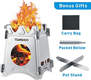 Camping Wood Stove Portable Folding Lightweight Stainless Steel Wood Burning Backpacking Stove for Outdoor Survival Cooking Picnic Hunting