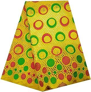 Tissu dentelle africaine Lece africaine Tissu brodé coton africains Poinçon dentelle Tissus for femmes Vêtements pour mari...