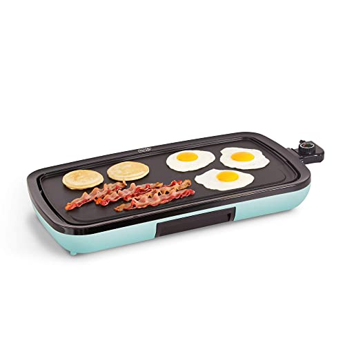 DASH DEG200GBAQ01 Everyday Nonstick Electric Griddle for Pancakes, Burgers, Quesadillas, Eggs & other on the go Breakfast, Lunch & Snacks with Drip Tray + Included Recipe Book, 20in, Aqua