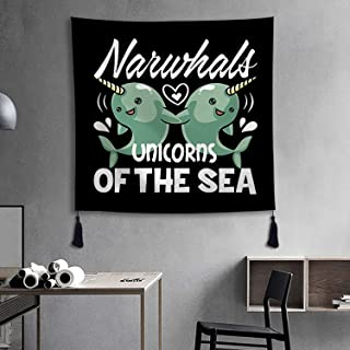 XREE Tapestry Wall Art Hanging Cloth Home Decor Living Room Bedroom - Narwhals The Sea