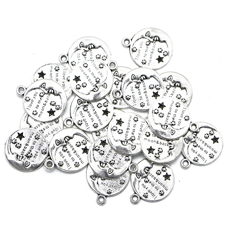 Monrocco 20 Pacl Antique Silver Round I Love You to The Moon and Back Charms Pendant Message Word Charms Bulk for Bracelets Jewelry Making