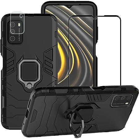 BestMX Funda para Xiaomi Mi Poco M3 Case + Protector de Pantalla de Cristal Templado + Lens Mica, Híbrida Rugged Armor Choque Absorción Protección Dual Layer Bumper Carcasa con Pie De Apoyo, Negro