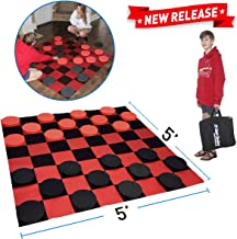 EasyGo Giant Checkers Game – Indoor Outdoor – Family Game – Lawn Game - 5' X 5'