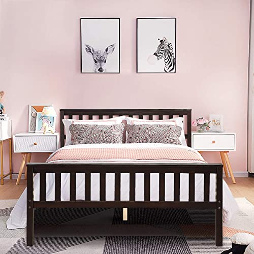 discount Giantex Deluxe Solid Wood Platform Bed with Headboard & Footboard, 14 Inch Pine Wooden Mattress Foundation, Wood Slats Great Support with Six Legs, lowest No Box Spring Needed, Antique Espresso online sale (Full) outlet sale