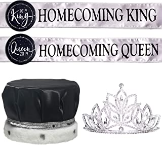 Homecoming Royalty Set - Rhinestone Tiara, King Crown, Sashes, Buttons