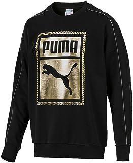 PUMA Chains Sweatshirt Mens Crewneck Sweat Top Graphic Logo Black/Gold New 576364 01