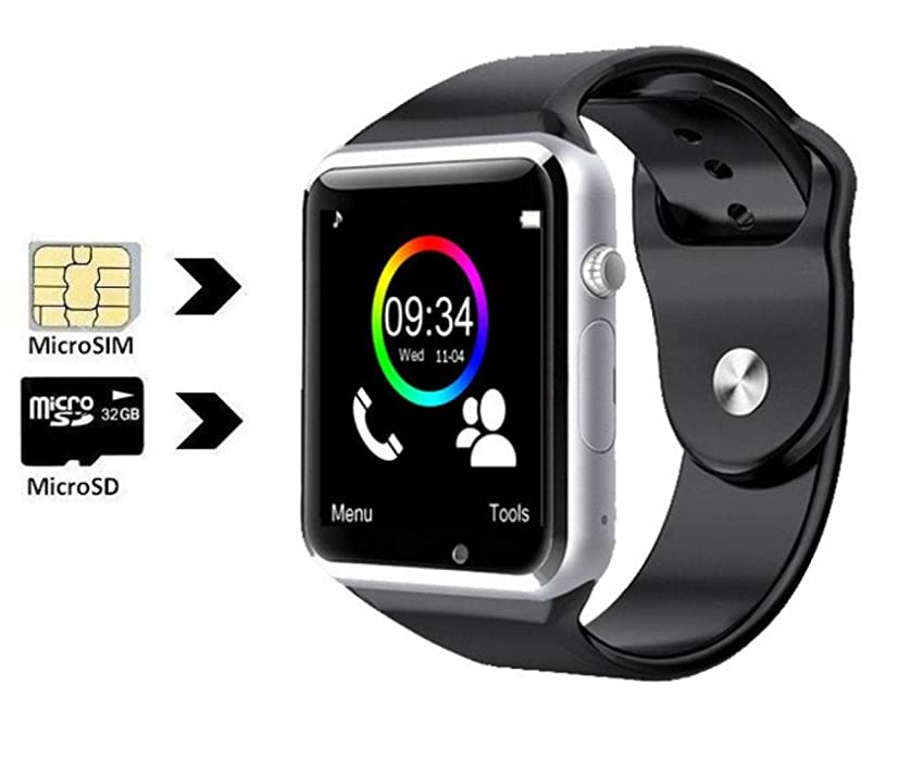 Cawono Unlocked A1 Smart Watch Phone Mate SIM GSM With Camera for Android Phones Samsung HTC LG Moto Black 1.54 Inch LCD Screen (Black)