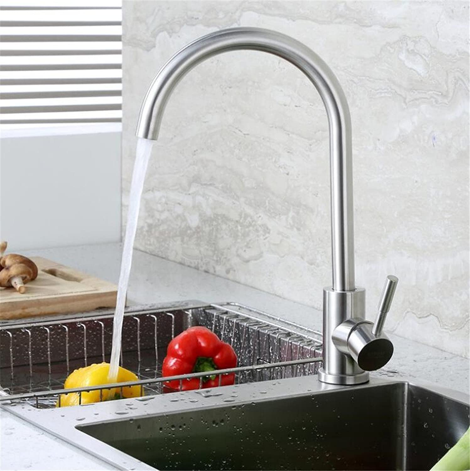 Decorry 304 Stainless Steel Cold Tap redation-Drawable Elongated Extending Ceramic Valve Core Faucet