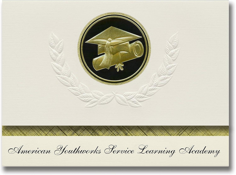 Signature Ankündigungen American youthworks Service Learning Academy (Austin, TX) TX) TX) Graduation Ankündigungen, Presidential Basic Pack 25 W Gold & Schwarz Folie Dichtung B079MKGXYF   Erste in seiner Klasse  30e651