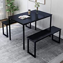 """Rhomtree 3 Pieces Dining Set Table with 2 Benches Kitchen Dining Room Furniture 47.6""""L x 29.9""""W Modern Style Wood Table Top with Metal Frame (Black)"""