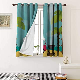 shenglv Explore Waterproof Window Curtain Caravan Camping with Barbeque and Surf Boards Tropical Beach Banana Coconut Trees Curtains for Party Decoration W84 x L72 Inch Multicolor