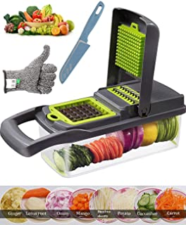 New Upgrade Fruit Vegetable Chopper Peeler, BigbigHouse All in 1 Food Chopper Pro Mandoline Slicer Dicer, High-Capacity Onion Chopper Cuber Cutter for Salad, with Extra Safety Glove, Knife (Grey)