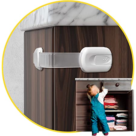 Child Safety Cabinet Locks for Babies (14 Pack) Child Proof Latches Locks for Cabinets and Drawers Doors, Baby Proofing Cabinet Strap Locks for Cupboards, Fridge, Toilet and Closet with 3M Adhesive