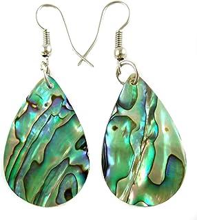 Iridescent Natural Abalone Earrings Teardrop Dangle Paua Shell Handmade Women Jewelry BA196