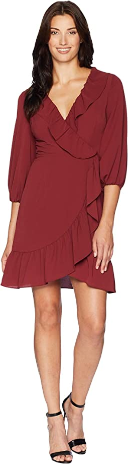 Pebble Chiffon Faux Wrap Dress