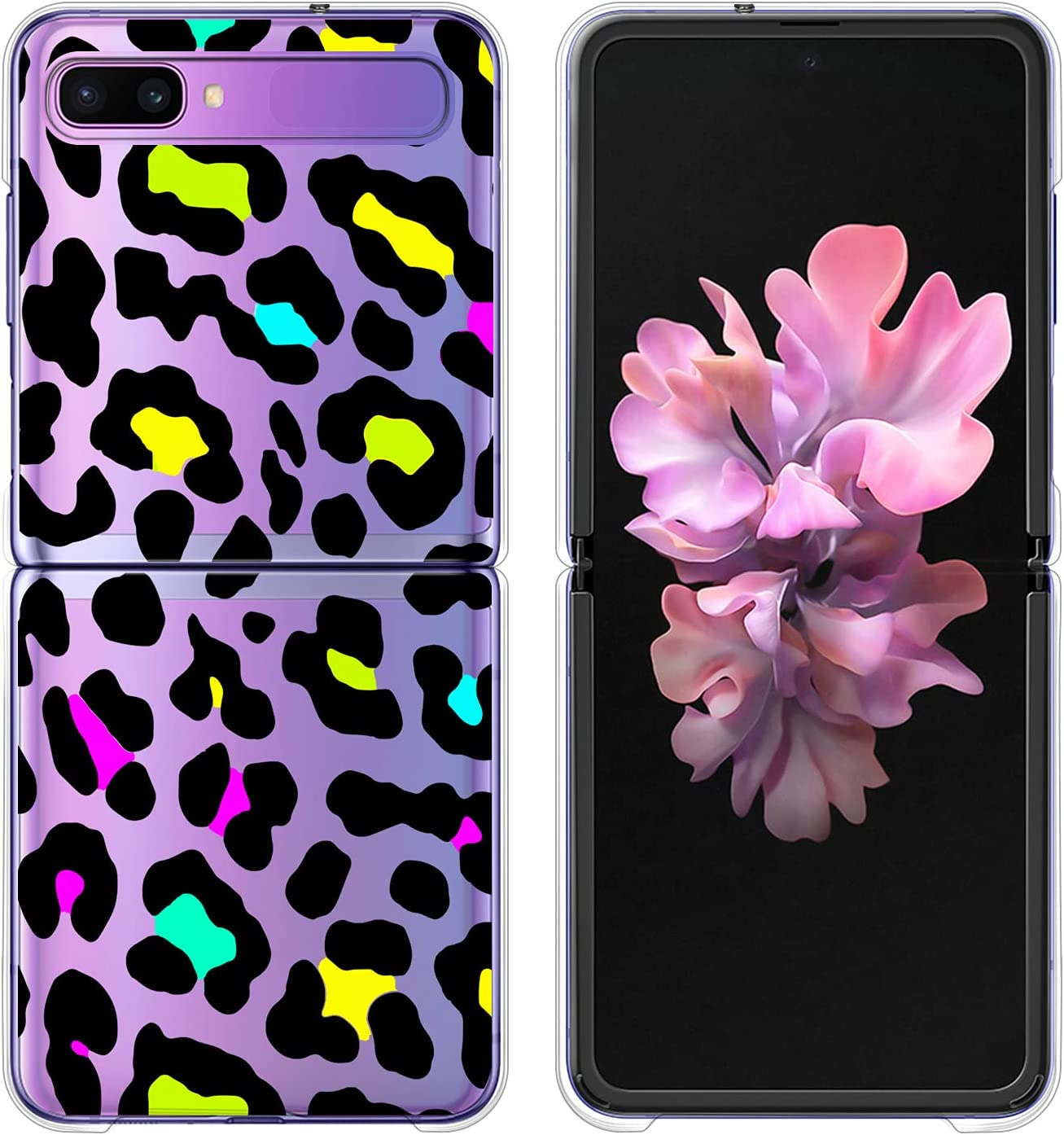 LSL Case for Samsung Galaxy Z Flip 5G Case Colorful Leopard Clear Cute Design Pattern Hard PC Shockproof Protection Full Body Protection Wireless Charging Slim Phone Cover for Galaxy Z Flip 5G