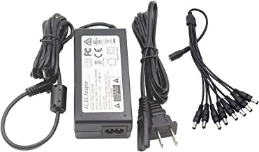 12V 5A 60W Power Supply Adapter with 8-Way Splitter Cord for LED Strip Light 3D Printer LED Driver CCTV Camera
