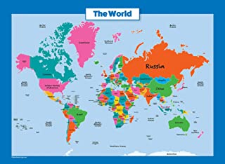 World Map for Kids - Laminated - Wall Chart Map of The World
