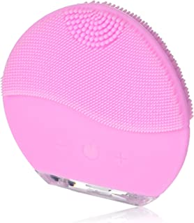 Sonic Silicone Electric Face Brush USB Charging & Waterproof for Woman Teen Girl Makeup Wash(Pink)