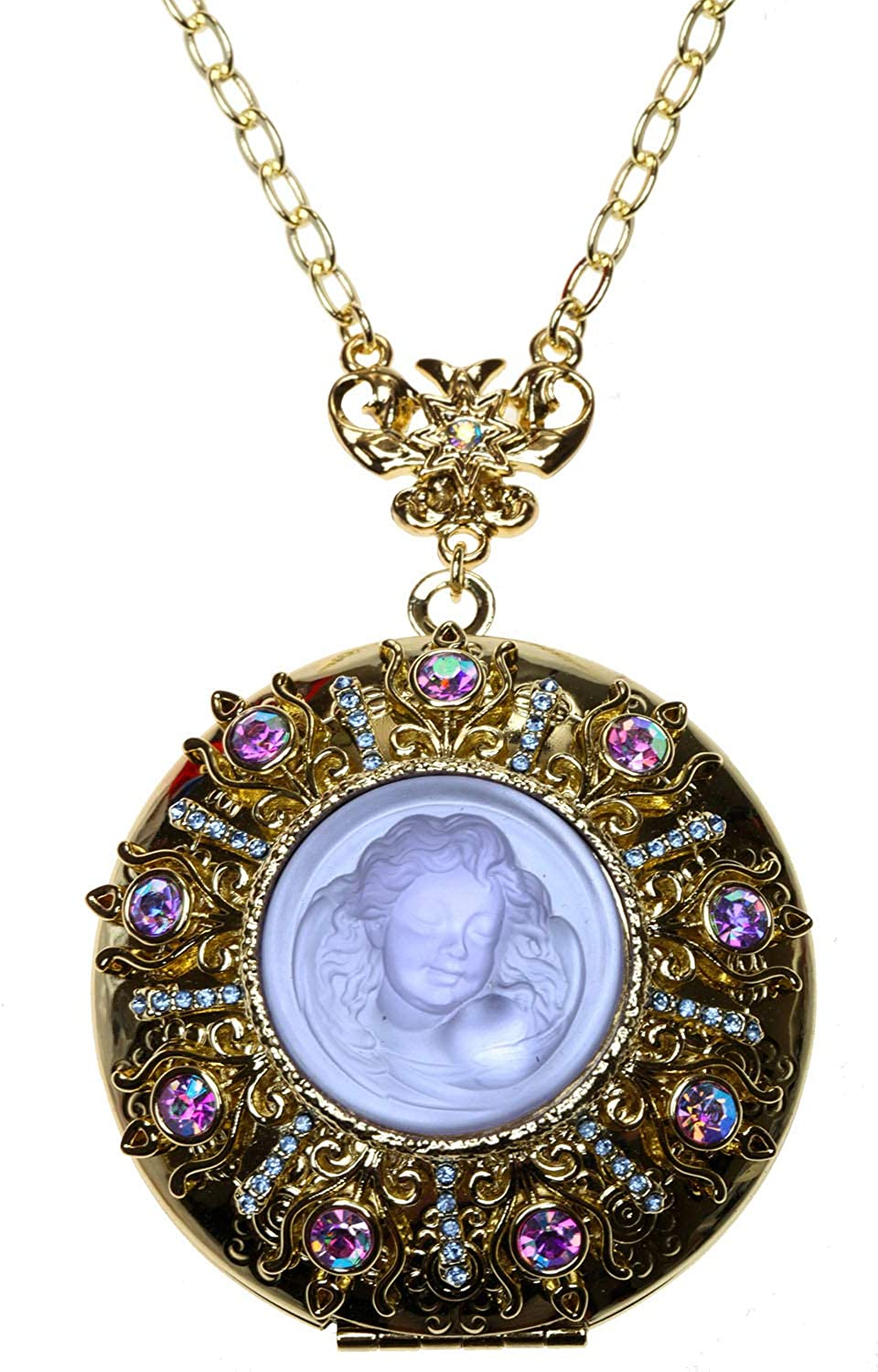 Kirks Folly Glass Dream Angel Touch the Heavens Locket Necklace goldtone