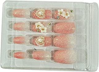 AyA Fashion Self adhesive/Pre-Glued Professional Quality Pre Designed False Nails   French Long Artificial Fake Nail   Set of 12 pcs