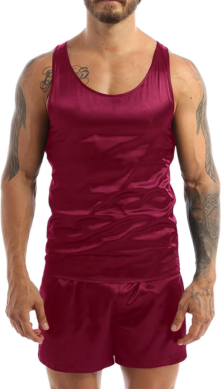 Yanarno Men's Pajama Sets Smooth Lingerie Satin Sleepwear Cami Shorts Set Crew Neck Pj Nightwear