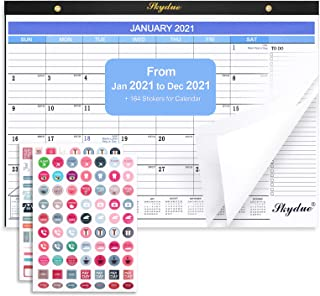 "SKYDUE Desk Calendar 2021 17"" x 12"",Jan 2021- Dec 2021 Desk Calendar Pad with Transparent Cover, Monthly Calendar with To-..."