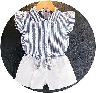 Toddler Girl Summer Print Short Suit Baby Girls Striped Dot+Pants 2pcs Tracksuit