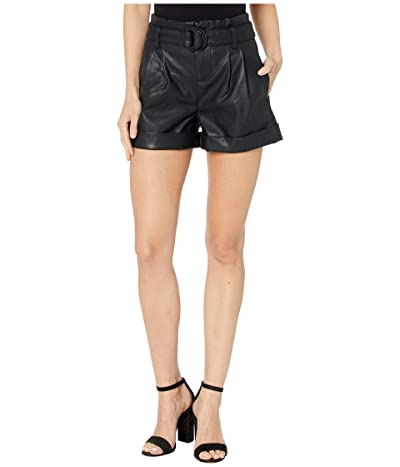 Blank NYC Faux Leather Belted Shorts in Sinister (Black) Women