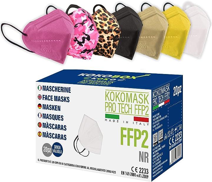 Mascherine ffp2 certificate ce made in italy 5 strati 98% filtraggio confezionate singolarmente home koko look B09235Q382