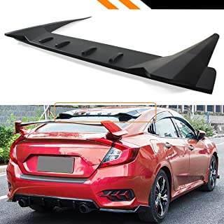 Cuztom Tuning Fits for 2016-2019 Honda Civic 4 Door Sedan FK8 Type-R Style 3 Pieces Design Rear Roof Vortex Fin Spoiler