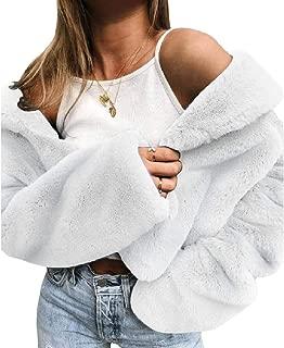 RkBaoye Womens Mini Open Front Solid Long Sleeve Velvet Lapel Coat Jacket