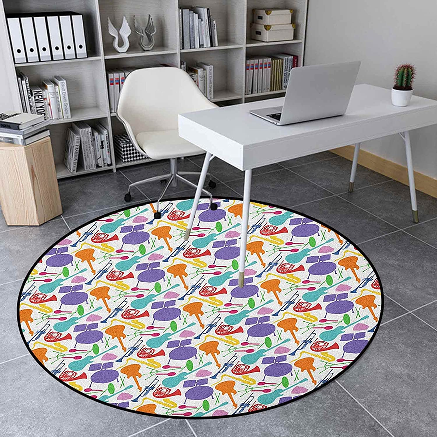 Music Collection Round Rug 4.3 Bedroom Carpet Regular dealer Inches Milwaukee Mall Ft for