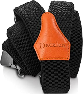 Decalen Mens Suspenders Very Strong Clips Heavy Duty Braces One Size Fits All Y Shape