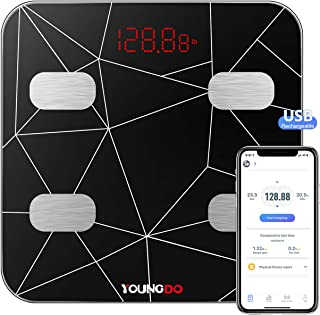 YOUNGDO Bluetooth Body Fat Scale,Bathroom Scales Digital Weight Weighing BMI Scale Body Composition Analyzer Monitors with...