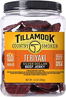 Tillamook Country Smoker All Natural, Real Hardwood Smoked Teriyaki Silver Dollar Jerky, 13 oz Jar