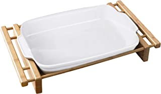 "Creative Home Grand Buffet 13"" x 9"" Rectangular Lasagna/Roaster Dish Stoneware Dish with Bamboo Cradle"