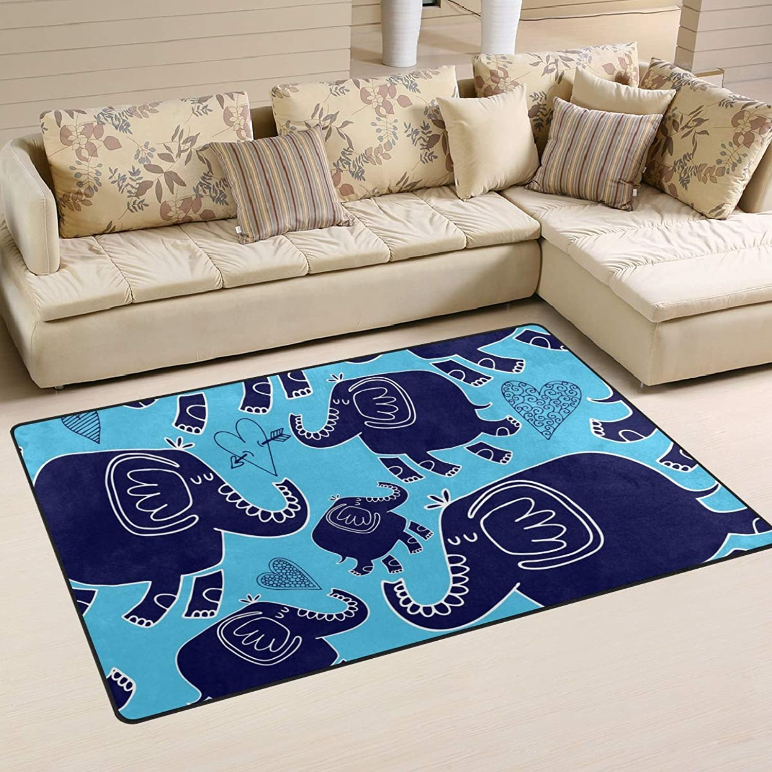 FANTAZIO Area Rug Accessories Elephants and Hearts Entry doormats for Corners and Edge Anti-Curling Ideal Rug Stopper 31x20in 60x39in