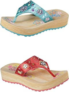 Official Brand Skechers Sparks Flip Flops Childs Girls Thongs Sandals Beach Shoes