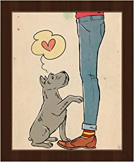 Beg For Love: Drawing Cartoon of Grey Schnauzer Dog and His Master Wall Art Print on Canvas with Espresso Frame