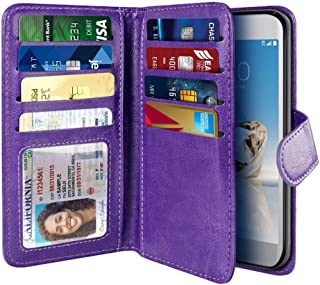 NEXTKIN LG Aristo MS210 Case, Leather Dual Wallet Folio TPU Cover, 2 Large Pockets Double flap, Multi Card Slots Snap Button Strap For LG Aristo MS210 LV3 K8 2017 Phoenix 3 M150 Fortune - Purple