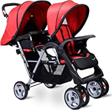 HOMGX Lightweight Double Stroller with Tandem Seating, Easy Folding Stroller for Toddlers or Twins with Multiple Seating O...